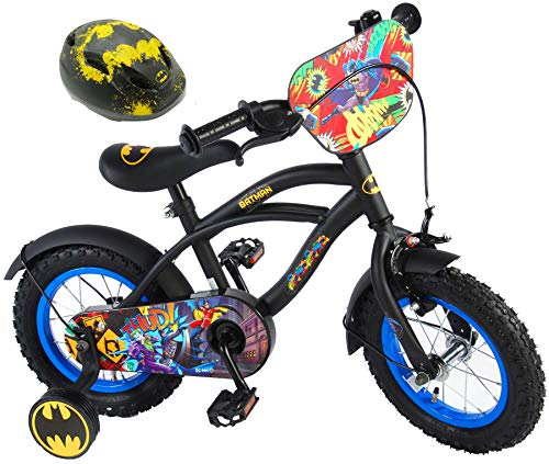 Batman Kinderfahrrad 12 Zoll + Fahrradhelm Gr. 51-55 cm | Rücktrittbremse