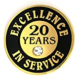PinMart Gold Plated Excellence in Service 20 Year Award Lapel Pin