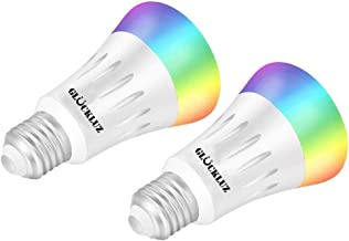 Gluckluz Smart Wifi LED Light Bulb 16 Million Colors Color Changing E27 60W Equivalent RGBW Multicolor No Hub Required (7W...