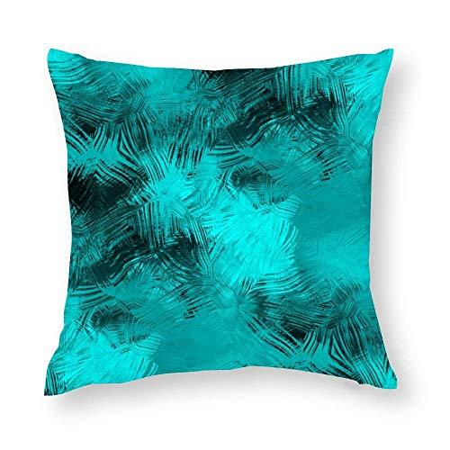 WH-CLA Fundas de almohada de color turquesa negro elegante con pinceladas para decoración del hogar de 45 x 45 cm con cremallera, acogedor, estampado de oficina, funda de almohada para sofá, colorida