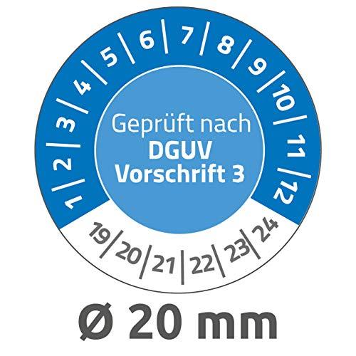 AVERY Zweckform 6975 widerstandsfähige Prüfplaketten 2019-2024 (stark selbstklebend, Kleinformat, Ø 20 mm, 120 Aufkleber auf 8 Blatt) blau