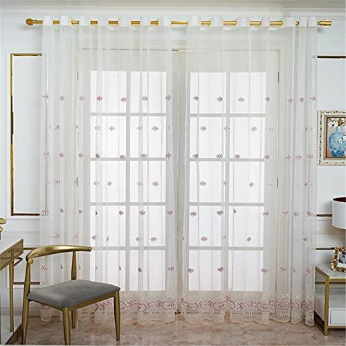 FACWAWF Cortina Translúcida Bordada De Girasol Simple Hilo Nórdico Viento Dormitorio Sala De Estar Balcón Sala De Estudio Cortina De Polvo Y UV 79x106in(200x270cm) WxH(1pcs)