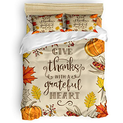 Amaze-Home Thanksgiving Pumpkin Maple Leaf 4 Pieces Bedding Sets Full Flannel Duvet Cover Sheet Bedspread with 2 Decorative Pillow Shams for Bedroom Dorm Hotel Corn Branches