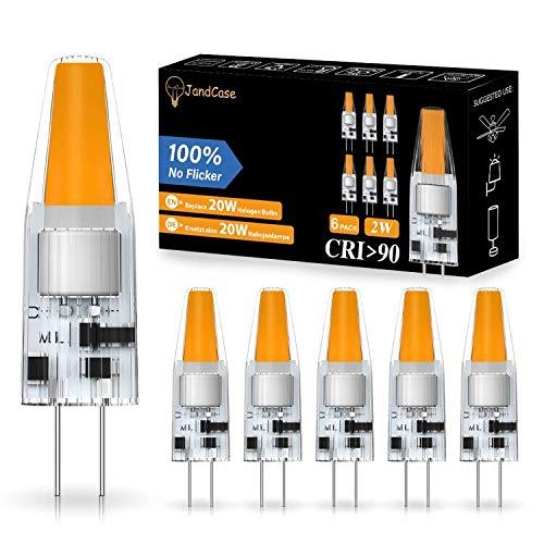 JandCase G4 LED Lampen, 2W G4 Kapsel-Glühbirne, entspricht 20W G4 Halogen Glühbirne, Warmweiß 3000K, CRI > 90, 200LM, AC/DC 12V, nicht dimmbar, G4 Energiesparlampen für Kronleuchter, 6 Stück