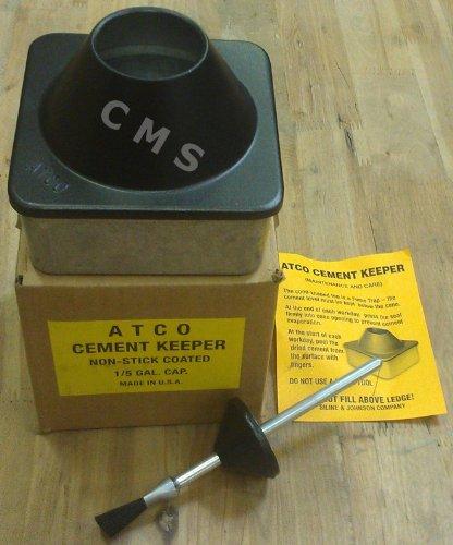 ATCO Cast Zinc Teflon Cement Keeper Dispenser 1/5 Gallon Leather Craft Glue Pot by Siline & Johnson MADE IN USA
