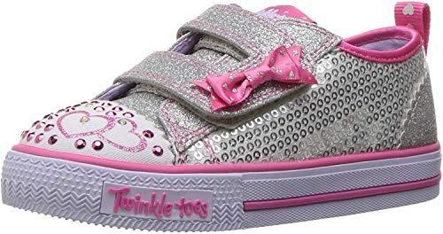 Skechers Girls Shuffles-Itsy Bitsy Trainers, Silver (Silver/Hot Pink), 4 UK 21 EU