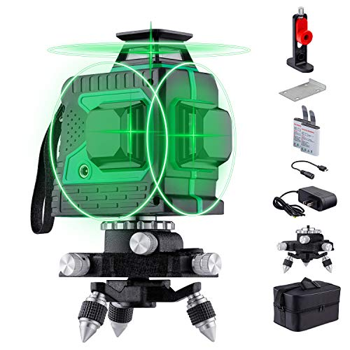 HUTACT 3D Green Laser Level Rechargeable 12 Lines Self-Leveling Laser Level Tool with Pulse Mode Three Plane Cross Line 3x360° Rotary Laser Level Laser Beam Leveler Tool for Indoor & Outdoor