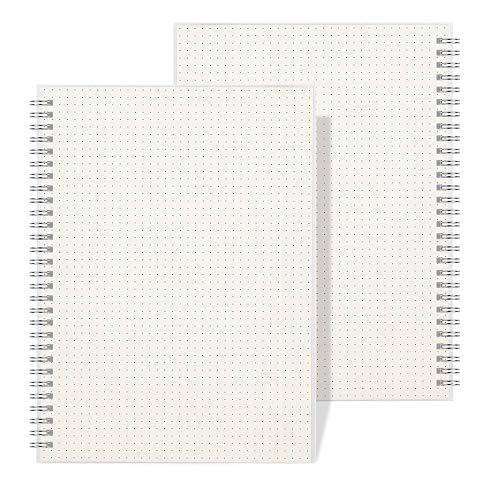 RETTACY cuaderno de tapa dura transparente, cuadrícula de dibujo, cuaderno de dibujo/boceto/viaje/universidad, 100 g/m², diario en espiral, tamaño B5, paquete de 2 (7,1 x 10 pulgadas)