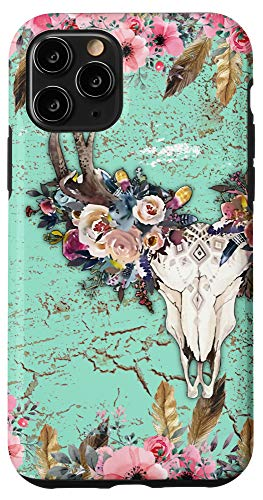 iPhone 11 Pro Flowers Country half Bull Skull Boho Cow Rodeo Cowgirl Girl Case