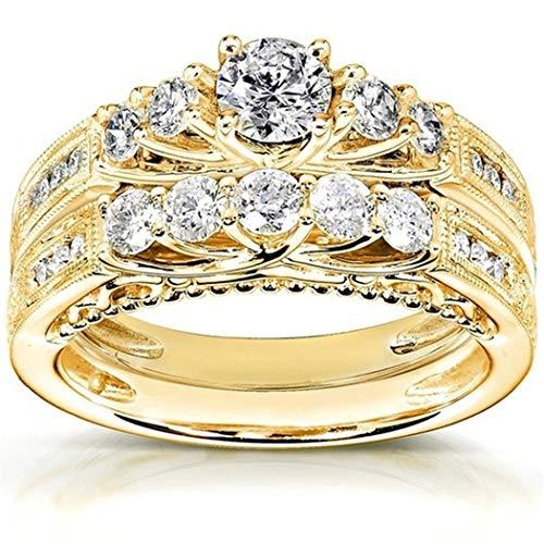 Eleusine Bague de fiançailles mariage classique en acier inoxydable strass mariage (8)