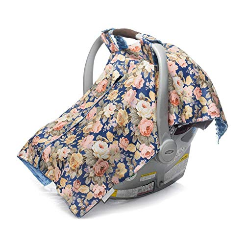 Funda para asiento de bebé 3 en 1, material de algodón y poliéster para verano y otoño, resistente al viento y sombreado para niños y niñas(Navy blue flowers)