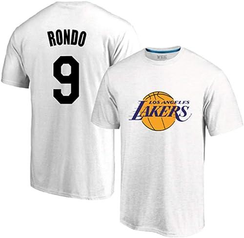 WEIHUA Lakers 9 Rondo Maillot d'entraîneHommest en Coton col Rond T-Shirt à Manches Courtes de Basket-Ball Sport Décontracté Demi-Manche