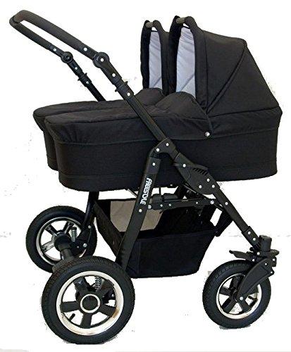 Tweelingwagen 2-in-1 babybadje, stoelen en accessoires geschikt voor pasgeborenen tot 3 jaar. Freestyle BBtwin Duo kinderwagen Blanco Y Gris