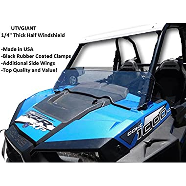 2015-2018 Polaris RZR S 900 Half Windshield - 1/4  Thick, Black Clamps, Side Wings