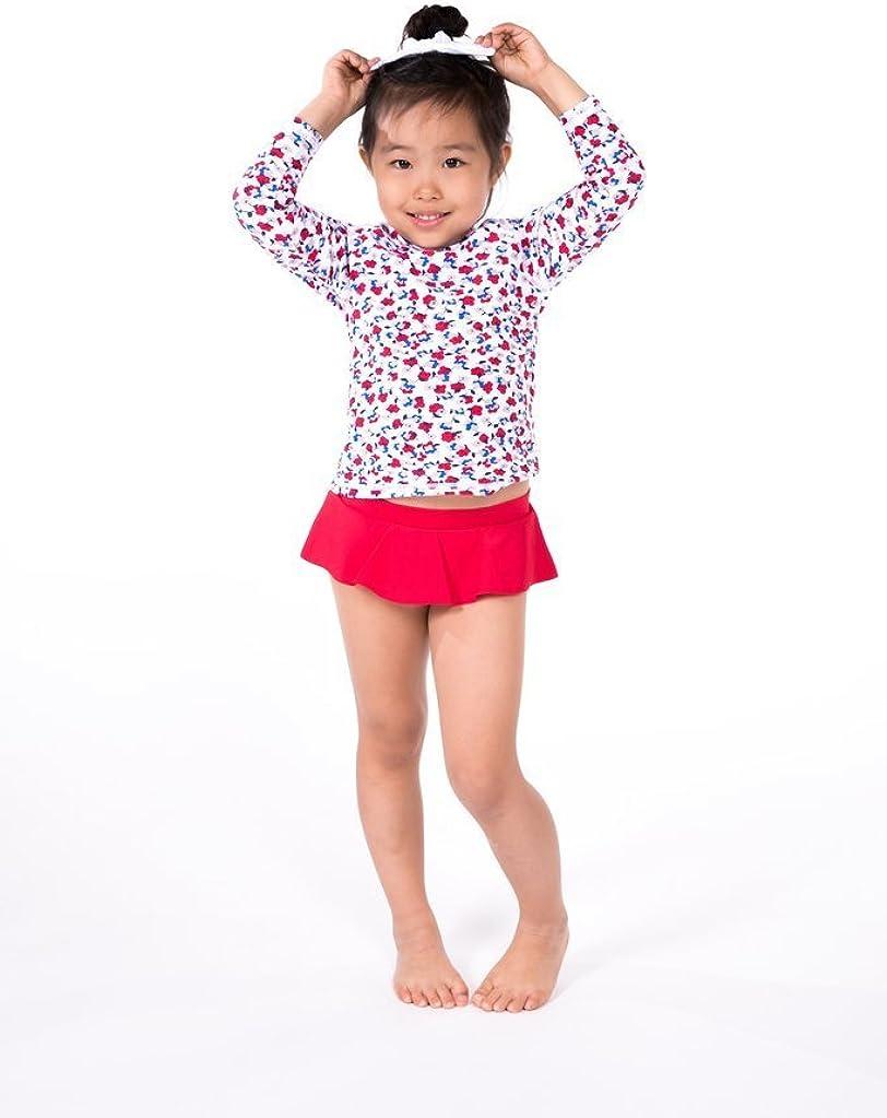 2 PC. Girls' Flower Long Sleeve Rashguard Top Skirted Swim Set