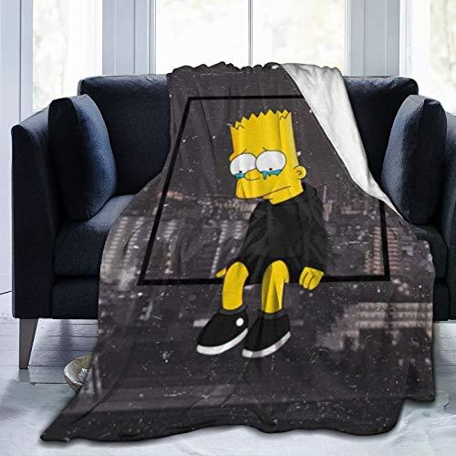LXXHWORLD Bart Simpson - Manta de microforro polar ultrasuave para decoración del hogar, manta cálida para sofá cama, colcha de otoño e invierno, mantas de 152 x 122 cm