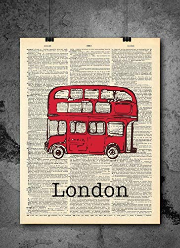 London Red Bus Vintage Dictionary Print 8x10 inch Home Vintage Art Abstract Prints Wall Art for Home Decor Wall Decorations For Living Room Bedroom Office Ready-to-Frame