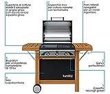 Barbecue A Gas 3 FUOCHI Sunday PROFY 3 - CUPOLINO Inox Carrello Legno + Kit Gas