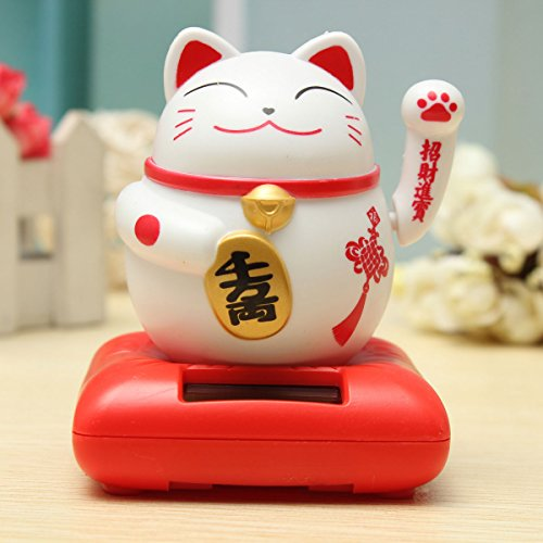 Inovey Maneki Neko solaire accueillant Lucky Beckoning Fortune Cat Home Decor ameublement