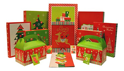 Holiday Box Set - Kit Contains Boxes, Tags, and Tissue Paper - Everything Needed to Wrap Presents