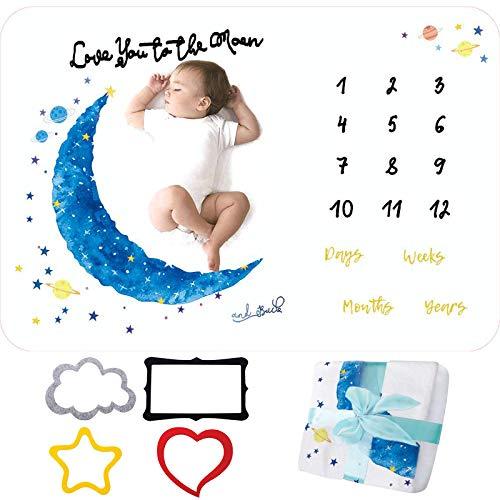 BEYAOBN Milestone Manta para bebé,Manta Mensual De Bebé Para Fotos,Franela Manta de Hito Fondo de Fotografía con Marco para Recién Nacido Niños Niñas Baby Shower Regalo(Luna)100 * 140cm