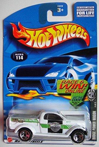 HOT WHEELS WHITE DODGE POWER WAGON #114 RACE & WIN ONLINE CARD 5 SPOKE WHEELS