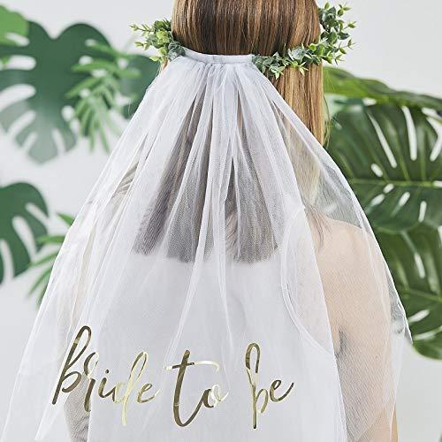 Haarreif Krone mit Schleier Haarschmuck mit Schleider BRIDE TO BE mit Eukalyptus Blättern Botanical Look JGA-Party Junggesellinnen-Abschied Braut Kostüm Verkleidung Deko Accessoires Zubehör Frauen