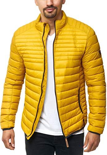 Indicode Herren Islington Steppjacke in Daunenjacken-Optik mit Stehkragen | gefütterte sportliche Übergangsjacke Moderne leichte Winterjacke modische Jacke für Männer Golden Yellow L