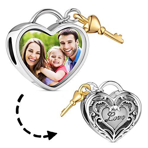 TinySand 925 Sterling Silber Herz Foto Charme mit Love und Schlüssel für Europa Armband