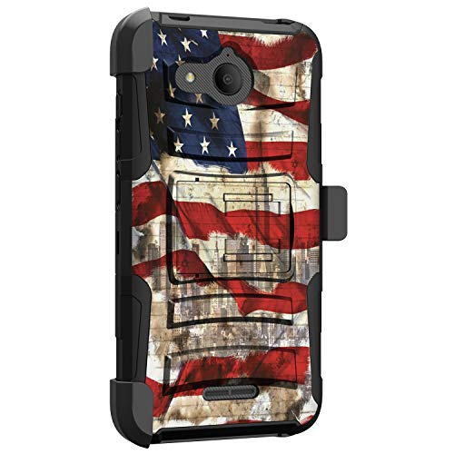 MINITURTLE Compatible with Alcatel Tetra Hard Shell Cover Hybrid Case Kickstand with Holster Clip [Clip Armor] - NYC American Flag