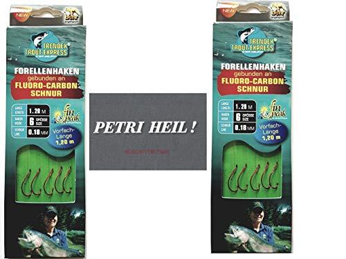 .Behr Set: 2 Packungen gebundene Forellenhaken (10 Stück) an Fluoro-Carbon Schnur, Hakengröße 6 + gratis Petri Heill! Aufkleber