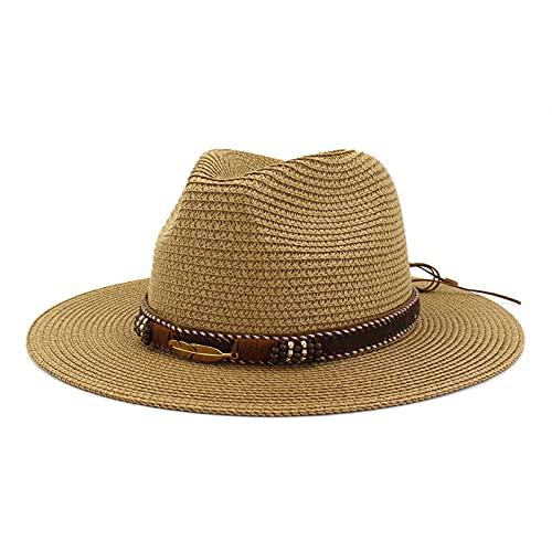BIBOKAOKE Panama, cappello estivo da donna o da uomo, con protezione UV, pieghevole, in paglia da cowboy, cappello estivo con tesa larga, Khaki22, Taglia unica