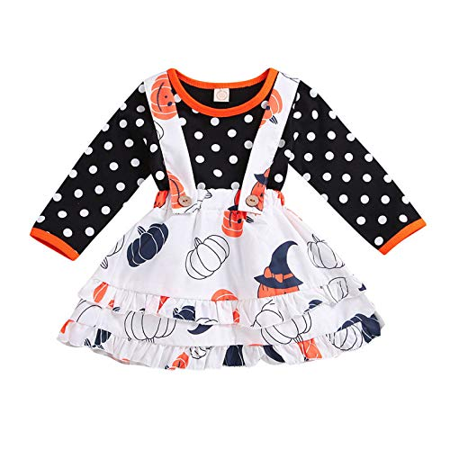 GFQTTY 2Pcs Newborn Baby Girl Skirt Set Thanksgiving Christmas Ruffles Raglan Tshirt Fashion Top Suspender Dress Fall Outfits Clothes,B,100cm