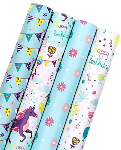 RUSPEPA Rollo De Papel Para Envolver Cumpleaños, Mini Rollo, Pancartas De Celebración Para Fiestas, Celebraciones, Embalaje De Regalo Para Baby Shower, 4 Rollos, 44 cm X 305 cm Por Rollo