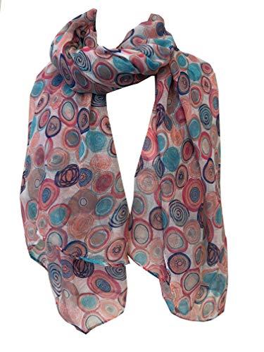 Pamper Yourself Now Weiß mit blauen und rosa Kreise Schal/wrap- White with blue and pink circles scarf/wrap