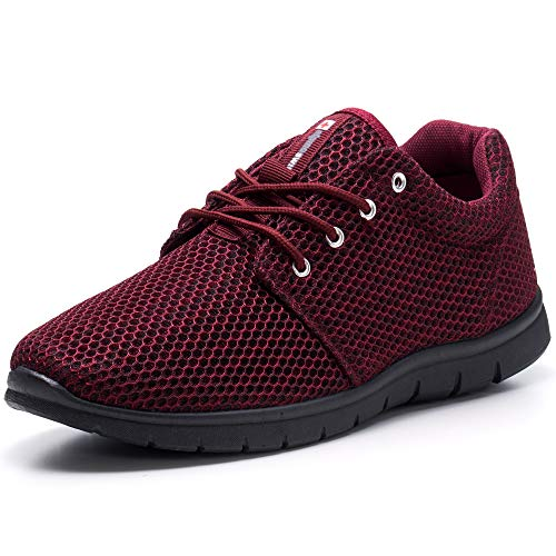 Alpine Swiss Kilian Fashion Sneakers Lightweight Trainers Lace Up Casual Shoes,size 9,11W,color Burgundy