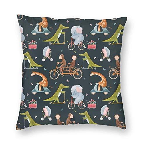GOSMAO Federe per Cuscini Elefanti delle Scimmie del Fumetto in Bicicletta Divano Cotone Biancheria Gettare Decorativo Caso Federa Cuscino Divano Auto Home Decor 45 x 45 cm