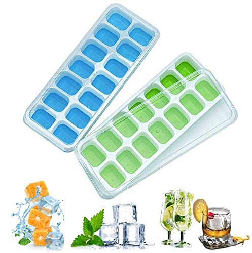 Ice Cube Trays 2 Pack, Easy-Release Flexible Silicone Ice Cube Molds with Non-Spill Lids, Best for Freezer, Baby Food, Water, Whiskey, Cocktail and Drinks