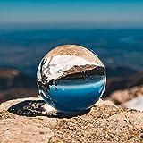 Siumir K9 Bola de Cristal Halloween Bola de Vidrio Transparente 60 mm Bola de Lente con Soporte para Decoración, Meditación, Fotografía