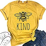 Zicotour Women Be Kind T Shirts Cute Graphic Blessed Shirt Funny Inspirational Teacher Fall Tees Tops((Yellow,S))