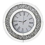 Richtop - Reloj de pared con espejo de cristal de diamante redondo grande y silencioso de cuarzo para casa, oficina, sala de estar, dormitorio, decoración de círculo, diámetro de 50 cm, color plateado
