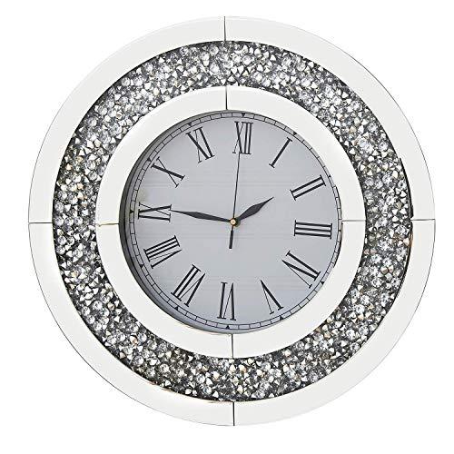 RICHTOP Wanduhr Groß Schwarz Samt Umwickelt Holz Back Lautlos Quartz Uhren Rund Spiegel Design mit Glitzern Diamant 50cm für Wohnzimmer, Küche, Schlafzimmer,(No Batterie)