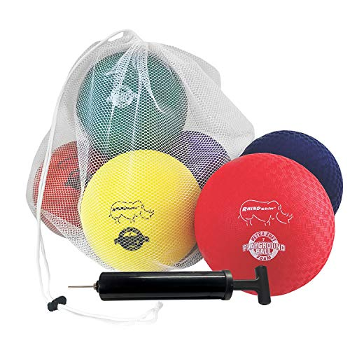 Champion Sports RSPG7SET Playground Ball Set: Six 7 Inch Rhino Skin Soft Inflatable Balls Includes Storage Bag and Pump