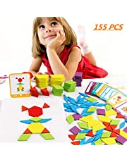 FISHSHOP Houten puzzels, 155-delig, geometrische vormen, puzzelstenen, Montessori, speelgoed, educatief speelgoed voor kinderen, meisjes en jongens vanaf 3 jaar
