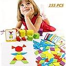 FISHSHOP Blocchi di Legno Classico educativo Giocattoli Montessori Set di Tangram per Bambini con 155 Pezzi di Forma Geometrica e 24 schede di Progettazione