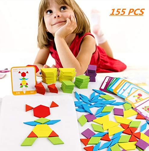 FISHSHOP Holzpuzzles 155 Teilig Geometrische Formen Puzzle Bausteine Montessori Spielzeug Lernspielzeug Für Kinder Mädchen und Jungen ab 3 Jahr