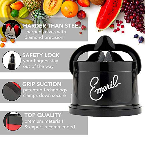 Emeril 17-Piece Knife Block Set + Tungsten Carbide Knife Sharpener with Suction Pad (Black) - Emeril Lagasse Cutlery Set with Stainless Steel Blades - Perfect Kitchen Knives for Produce and Sandwiches