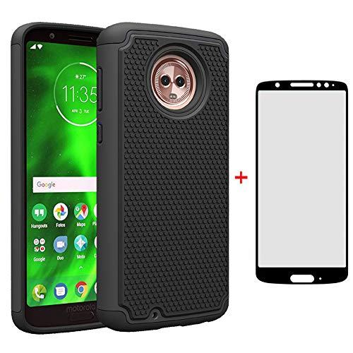 Phone Case for Motorola Moto G6 with Tempered Glass Screen Protector Cover and Cell Accessories Hard Protective Slim Rugged Silicone MotoG6 G 6th Gen 6 6G XT1925DL XT1925 XT1925-6 Moto6 Cases Black