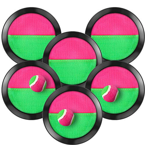 TOODOO Toss and Catch Balls Game 3 Set Paddle Toss and Catch Ball 6 Paddles and 3 Balls Suitable for Sports Beach Gifts Event and Game Prizes Party Favor and Supplies Black 61 Inch