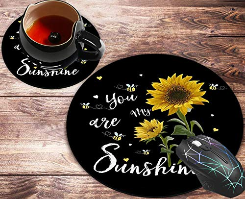 Round Mouse Pad and Coasters Set, Sunflowers You are My Sunshine Mousepad, Anti Slip Rubber Round Mousepads Desktop Notebook Mouse Mat for Working and Gaming